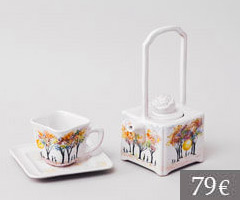 Square teapot and teacup, Junko design