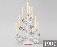 Tree of life candlestick in white